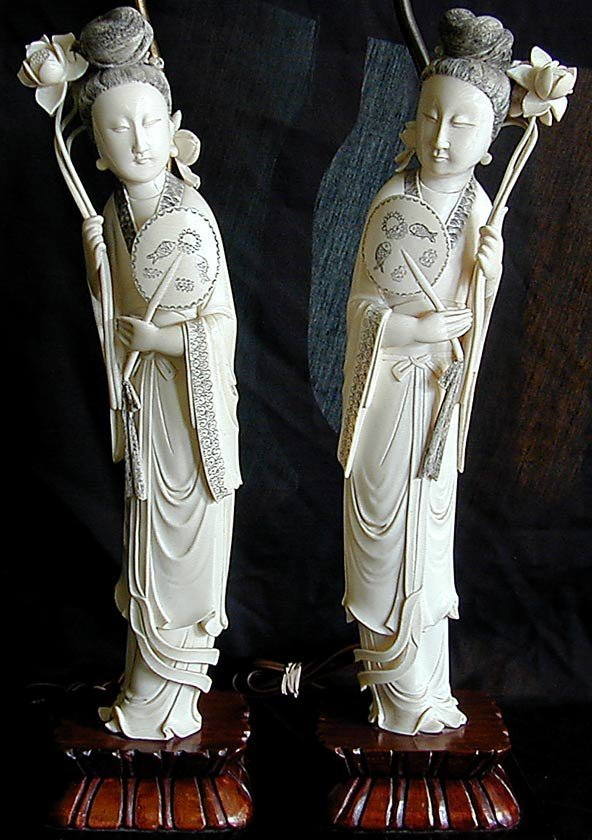 "191: PR CHINESE IVORY LAMPS FIGURES OF HE XIANGU 15""H - 2"