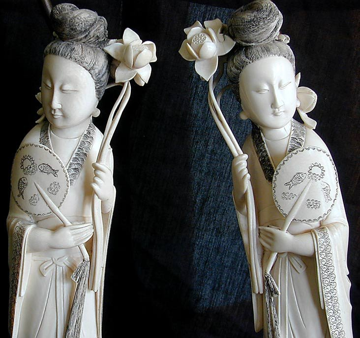 "191: PR CHINESE IVORY LAMPS FIGURES OF HE XIANGU 15""H - 4"