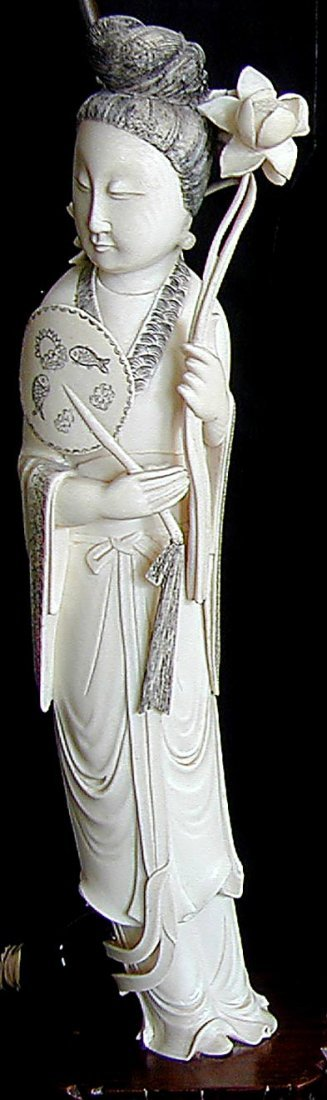 "191: PR CHINESE IVORY LAMPS FIGURES OF HE XIANGU 15""H - 5"