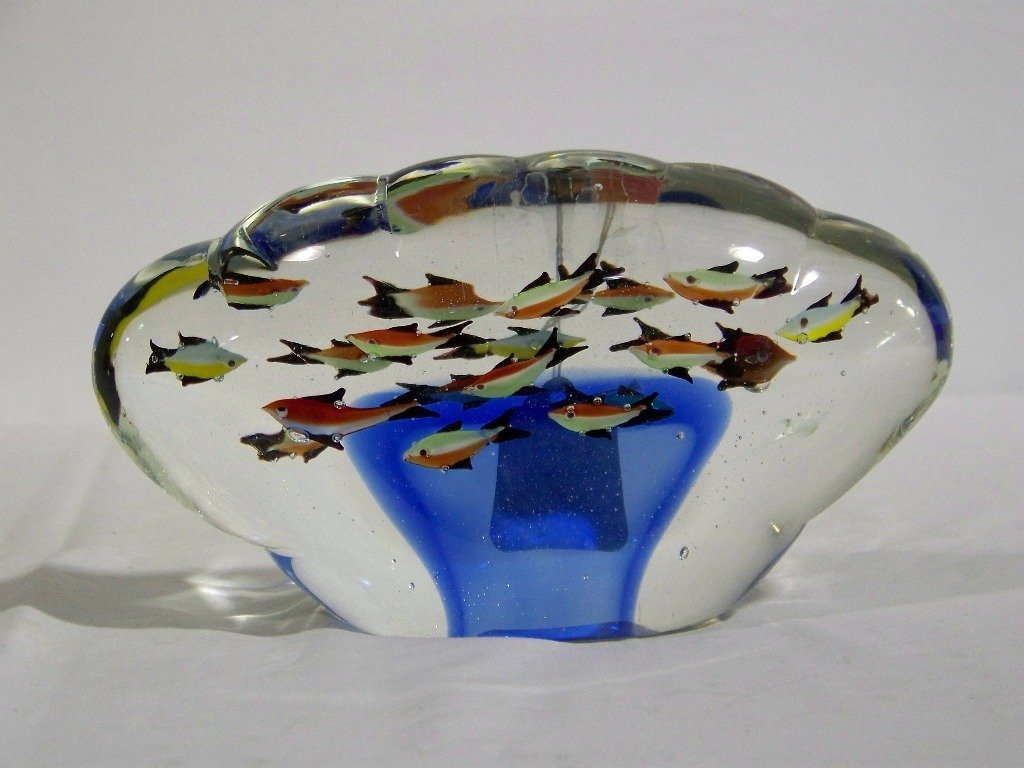7: Mid C. Modern Art Glass Aquarium Paper Weight