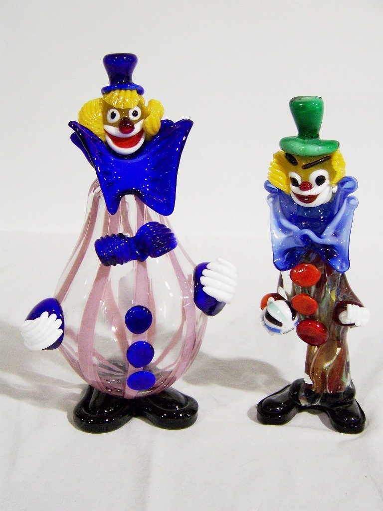 10: Pair of Large Murano Art Glass Clowns