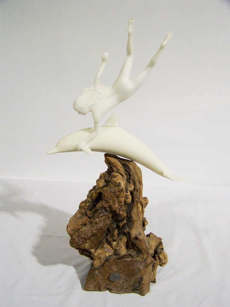 12: Vintage John Perry Table Sculpture of Nude & Dolphi