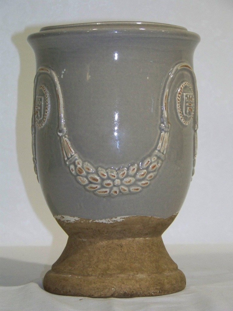 19: Vintage Ornate Terracotta Signed Vase