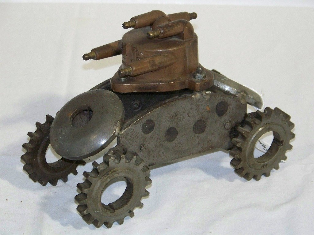 "18: Vintage Found Objects ""Tank"" Sculpture"
