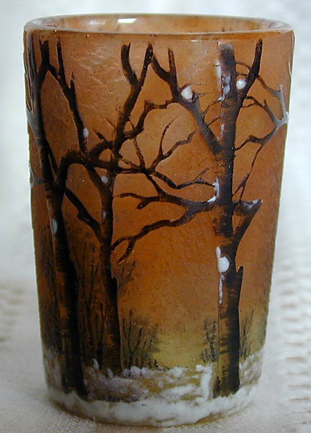 120: DAUM NANCY ENAMELLED SCENIC SNOW FOREST VASE
