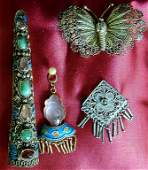 221A 4 PCS ANTIQUE CHINESE SILVER ENAMEL JEWELRY