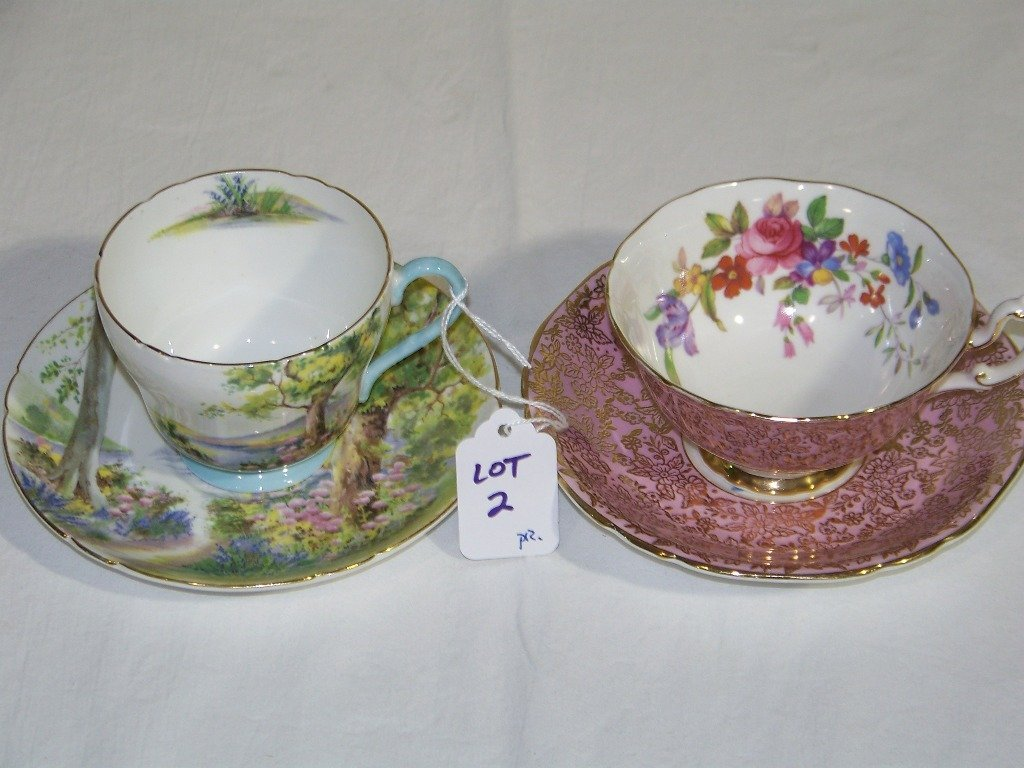 """2: Pair Vintage Cups & Saucers, """"Shelly & Adderley"""""""