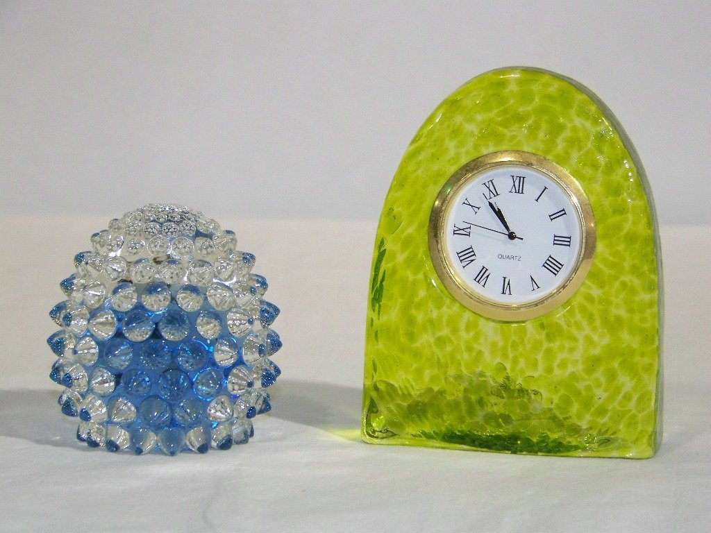 7: Signed Art Glass Clock & Hobnail Paperweight.