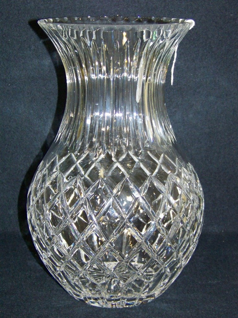"""9: Large Cartier Cut Crystal 12"""" Tall Flower Vase"""