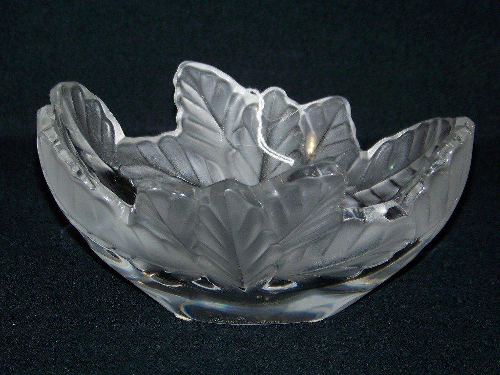 12: Signed Lalique France Frosted Glass Leaf Bowl