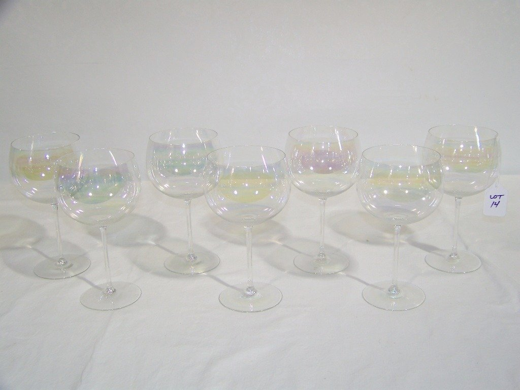 14: 7 Fine J.L. Lobmeyr Iridescent Wine Glasses