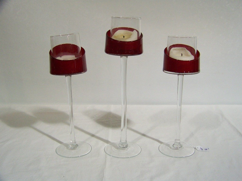 16: 3 Fine Ruby Red & Clear Glass Candle Holders.