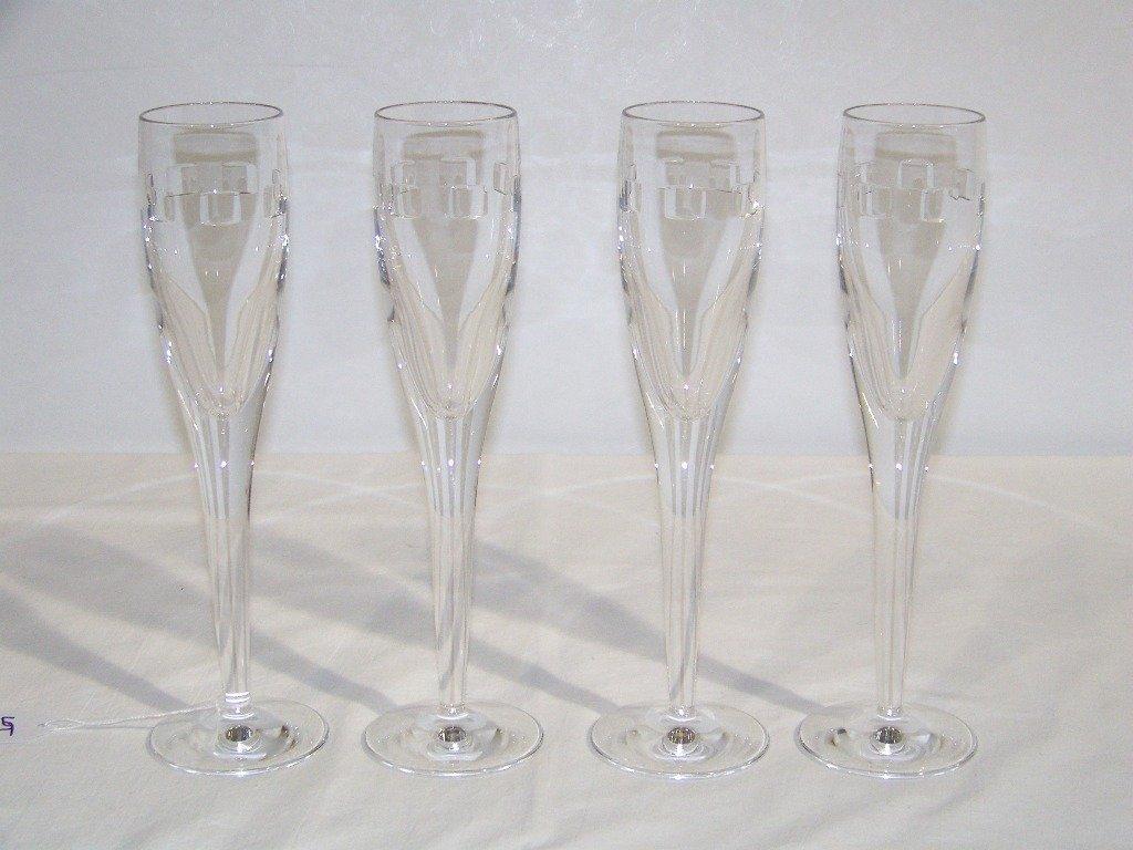 "17: 4 Waterford Crystal John Rocha ""Geo Oden"" Champagne"