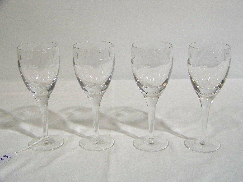 """18: 4 Waterford Crystal John Rocha """"Geo Oden"""" Wine Glas"""