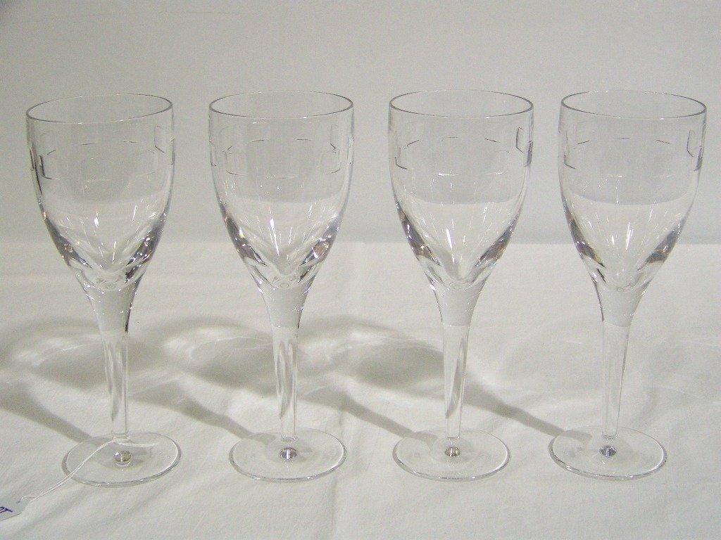 """19: 4 Waterford Crystal John Rocha """"Geo Oden"""" Wine Glas"""
