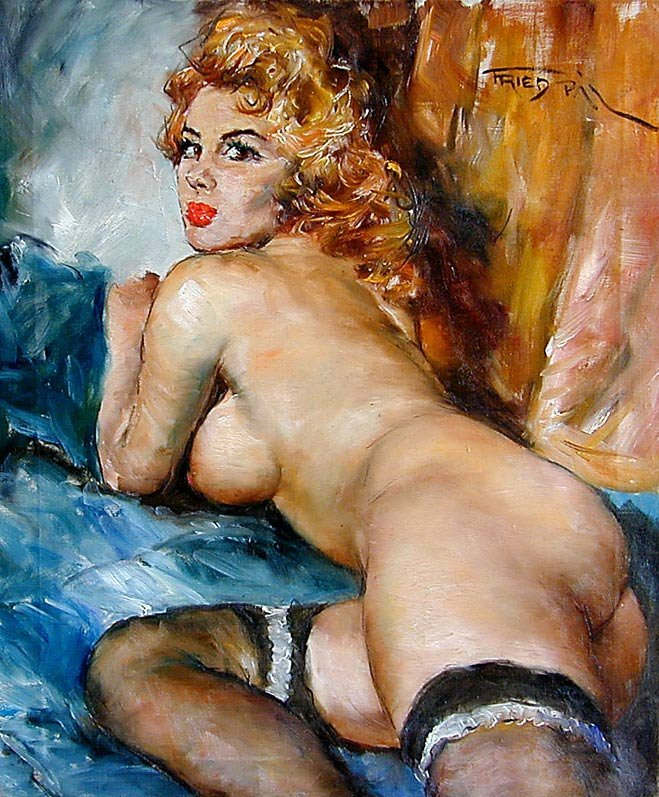 144: PAL FRIED (AMER 1893-1976) SEXY OIL ON CANVAS