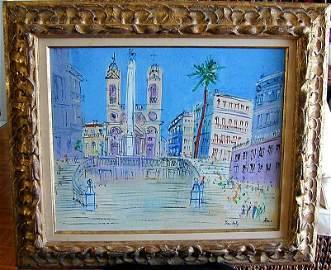 "138: JEAN DUFY (FR. 1888-1964) ""SPANISH STEPS,ROME""O/C"