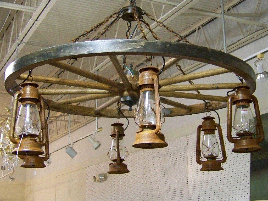 131a vintage dietz lantern wagon wheel chandelier - Wagon Wheel Chandelier