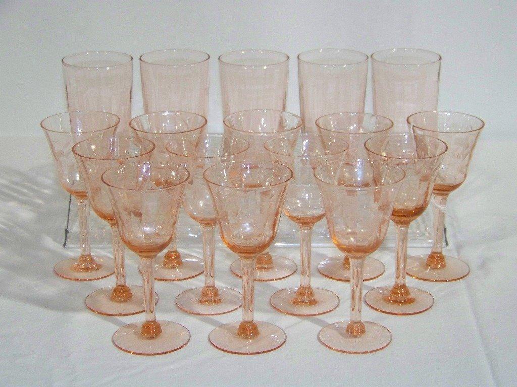 2: 17 Vintage Etched Pink Depression Glasses