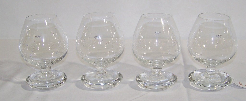 3: Set of 4 Krosno Crystal Balancing Brandy Glasses