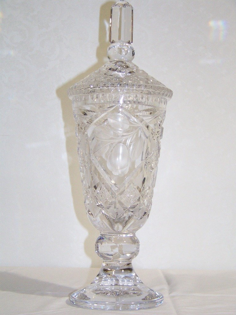 "5: Fine Vintage 16"" Cut Crystal Lidded Vase"