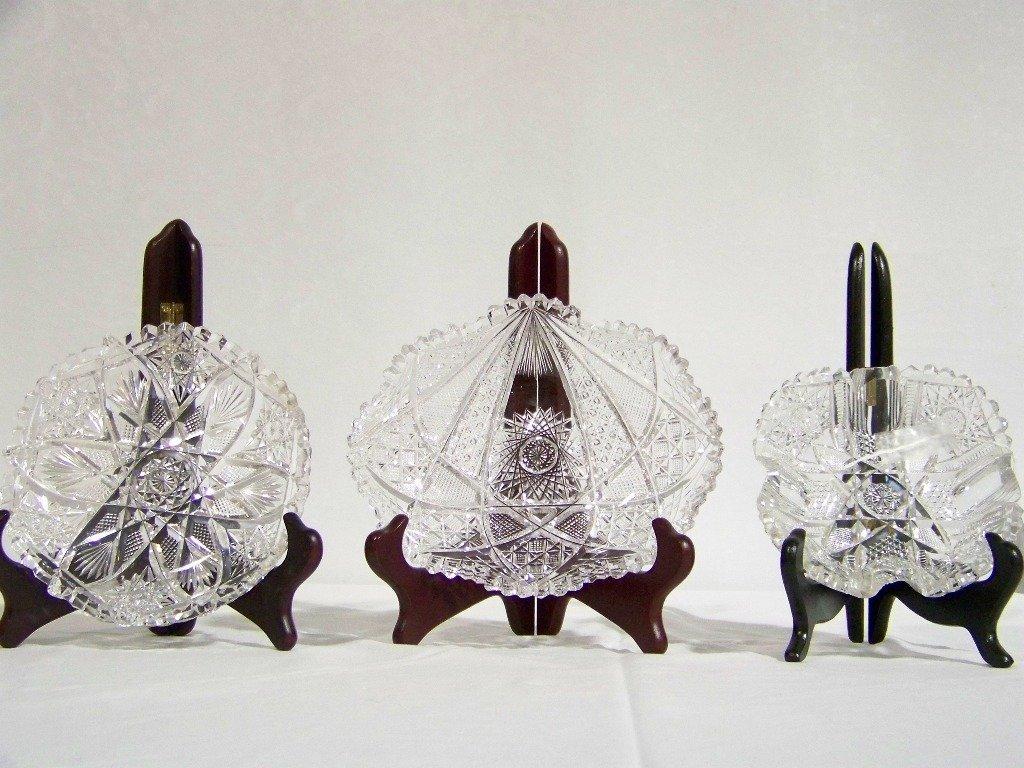 7: 3 Early American Brilliant Cut Crystal Bowls