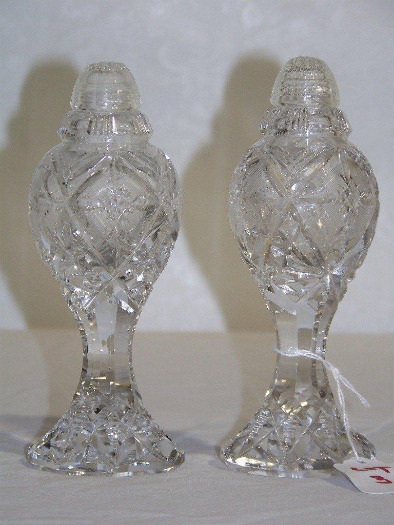 Pair Of Vintage Cut Crystal Salt Pepper Shakers
