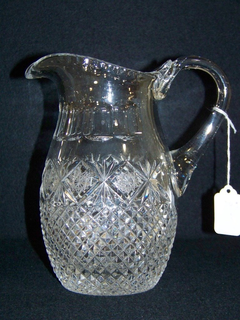 Fine Vintage Cut Crystal Handled Water Pitcher,
