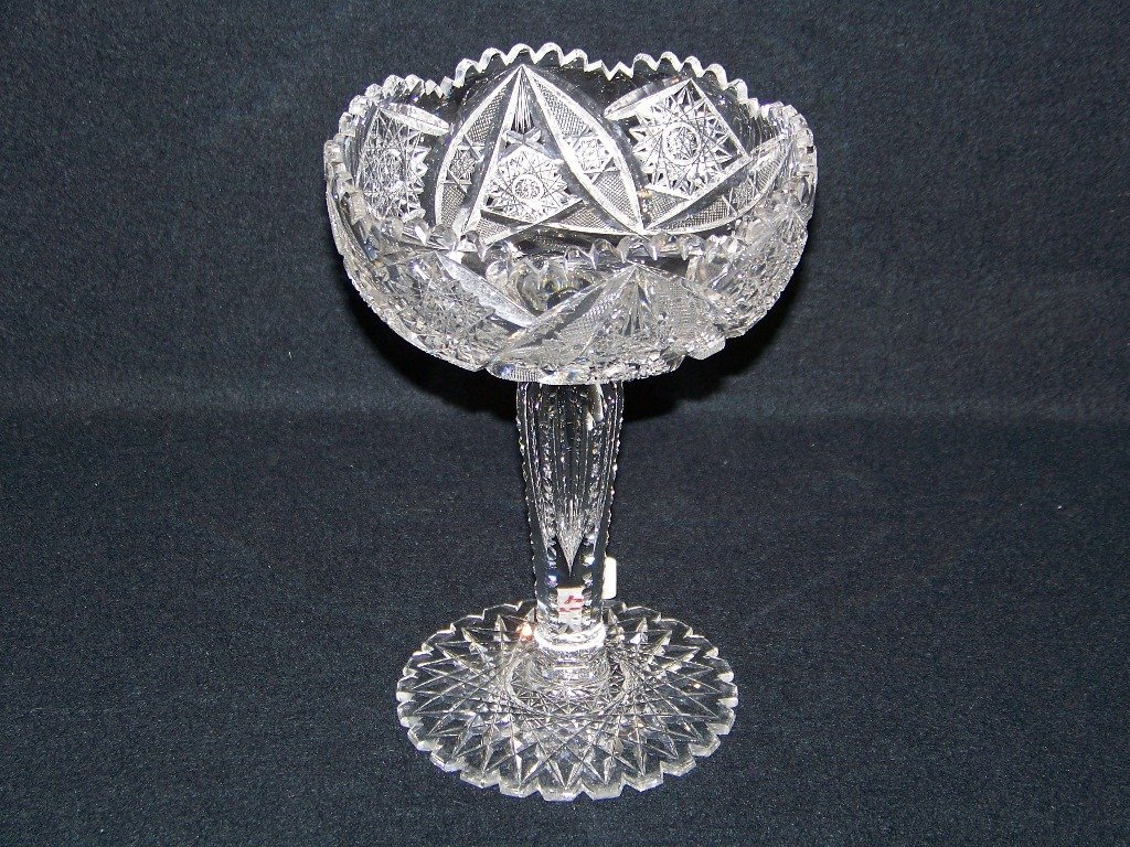 Early American Brilliant Cut Crystal Standing Compote