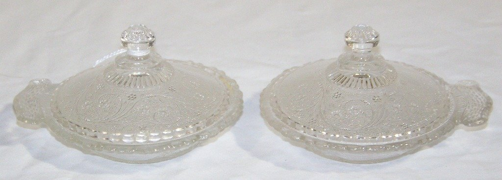 Pair of Early Ornate Pressed Glass Covered Jelly Dishes