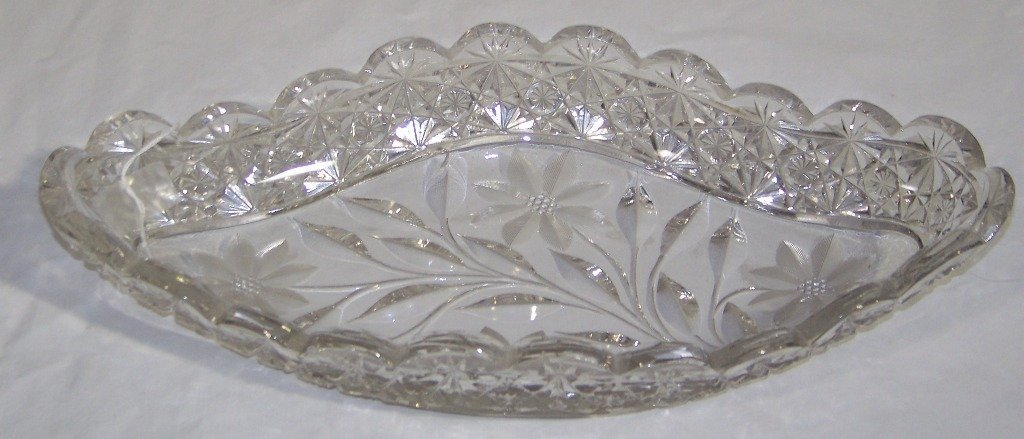 "Early American Brilliant Cut Glass 14"" Celery Boat"