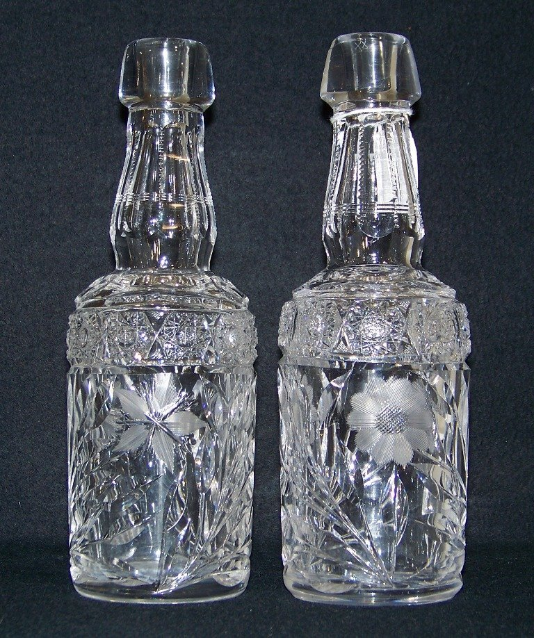 Pair 19th C. Cut Crystal Bottles/Decanters