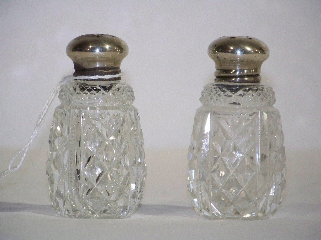 Early Cut Crystal Sterling Topped Salt & Pepper Shakers