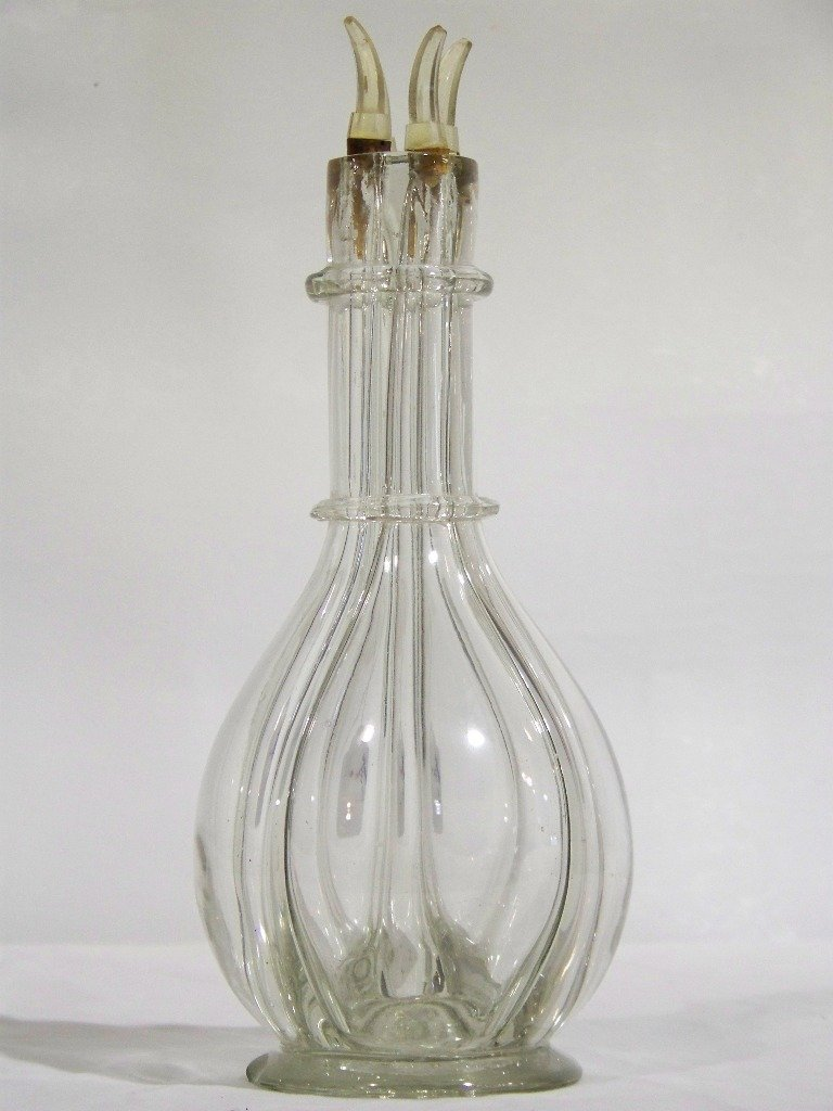 Vintage French Four Chamber Liquor Bottle Glass