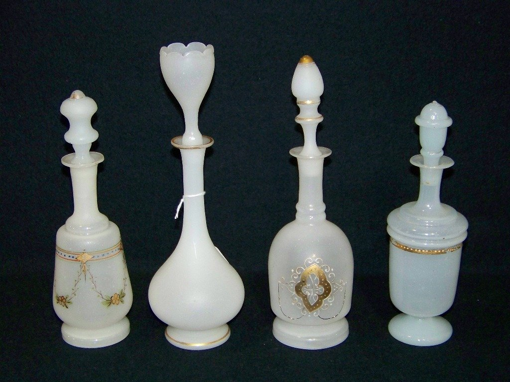 4 Early Victorian White Bristol Glass Perfume Bottles