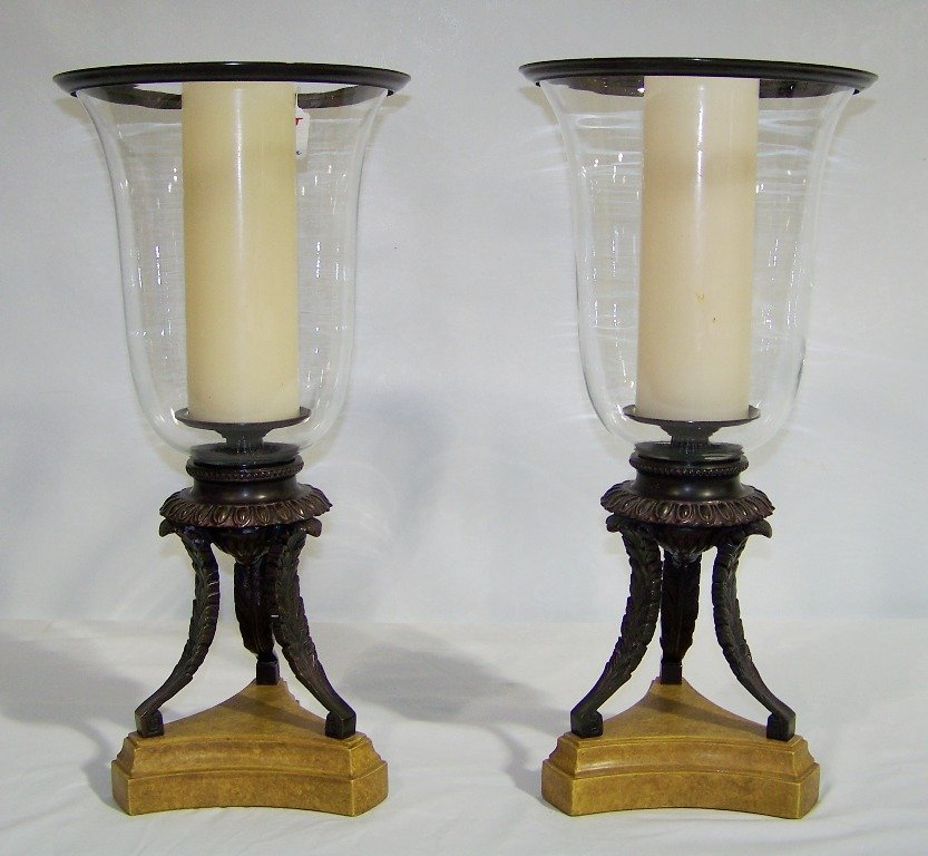 "Pair of 19"" Bronze & Glass Hurricane Candle Holders"