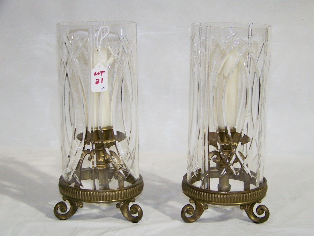 "Pair of 13"" Bronze & Glass Hurricane Candle Holders"