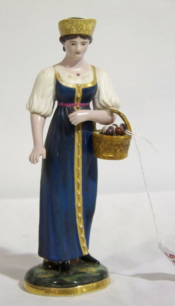 19th C. Gardner ( Russian) Porcelain Figure of Maiden w