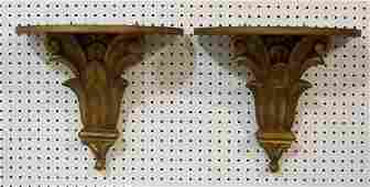 Pr. Vintage Italian Carved & Gilded Wall Shelf's/Bracke