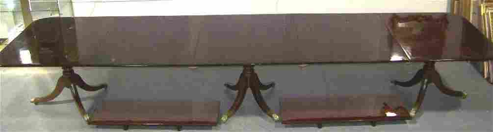 Fine Kittinger Williamsburg Mahogany Triple Pedestal Ta