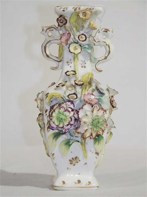 Antique Longton Hall Porcelain Floral Vase