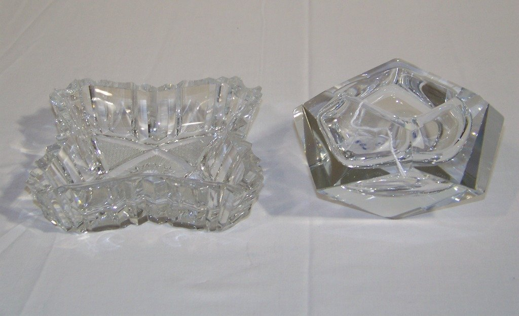 Pair Vintage Fine Cut Crystal Table Articles