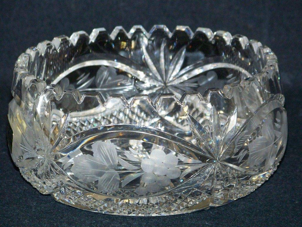 Fine Vintage German Cut & Etched Crystal Bowl