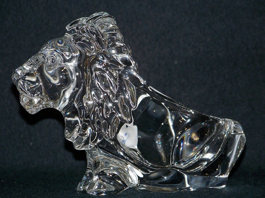 """Vintage French Art Glass Lion Pipe Rest """"Cofrac"""" Glass"""