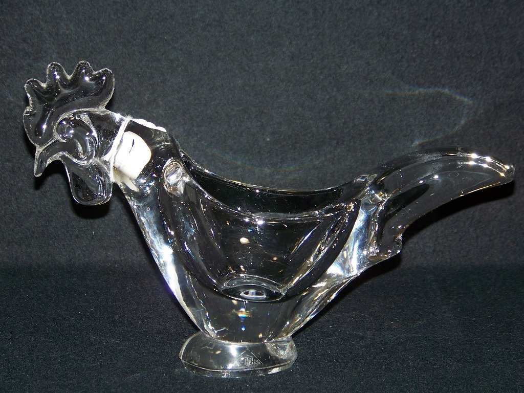 Vintage Vannes French Crystal Rooster Bowl - 5