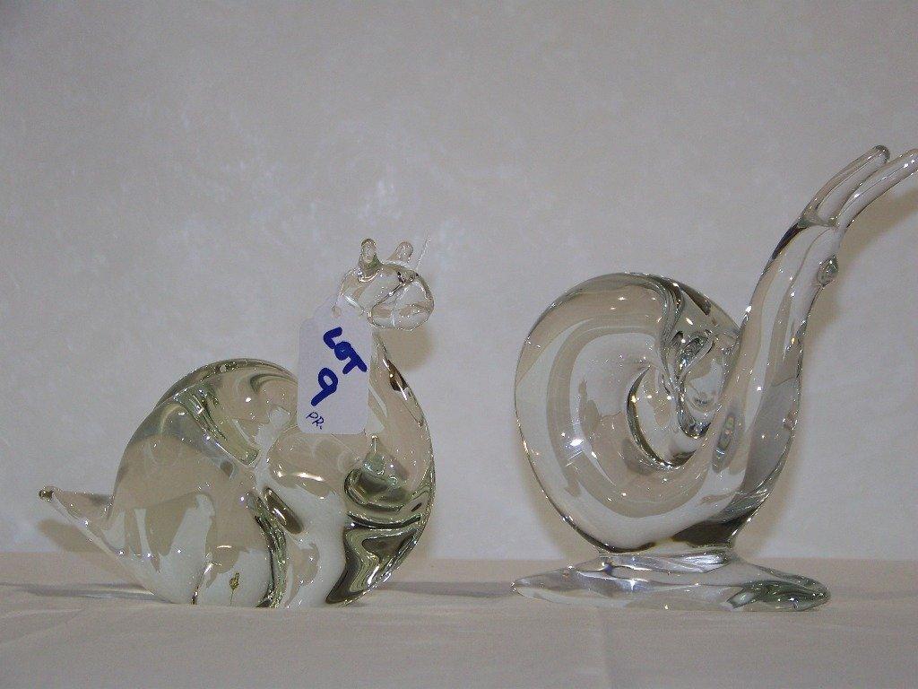 Pair Vintage Modern Art Glass Snail Bookends