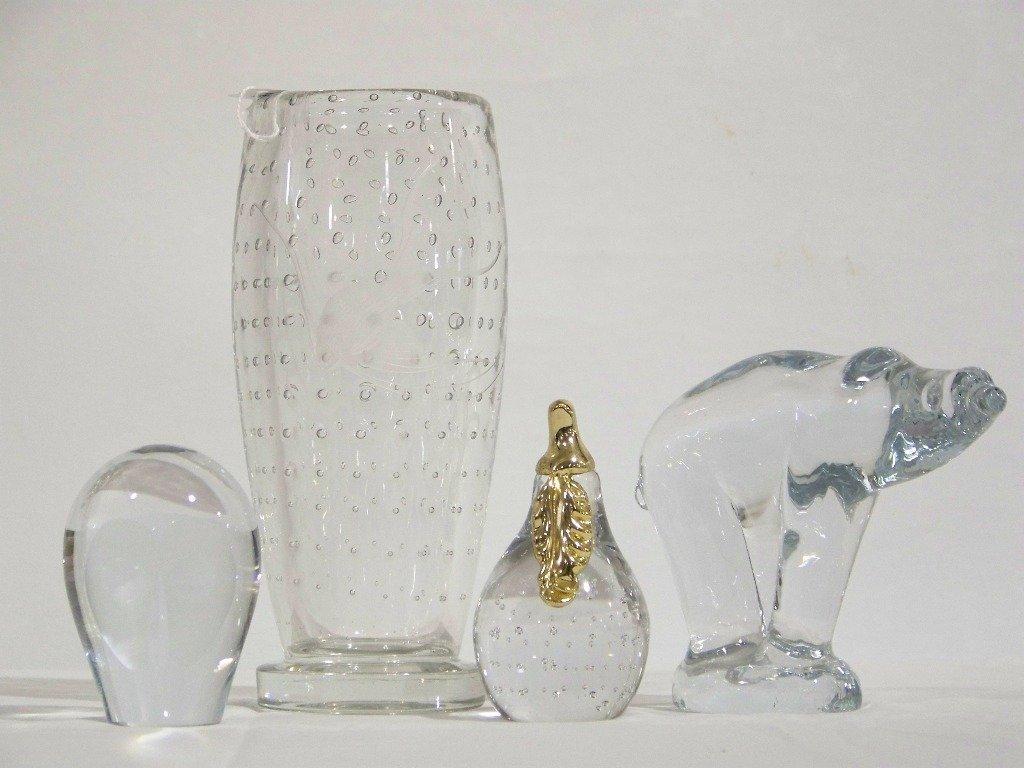 4 Modern Art Glass Figures & Vase
