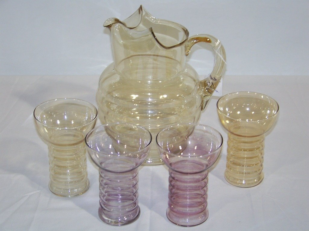 Mid Century Modern Bee Hive Shaped Glass Ice Tea Set