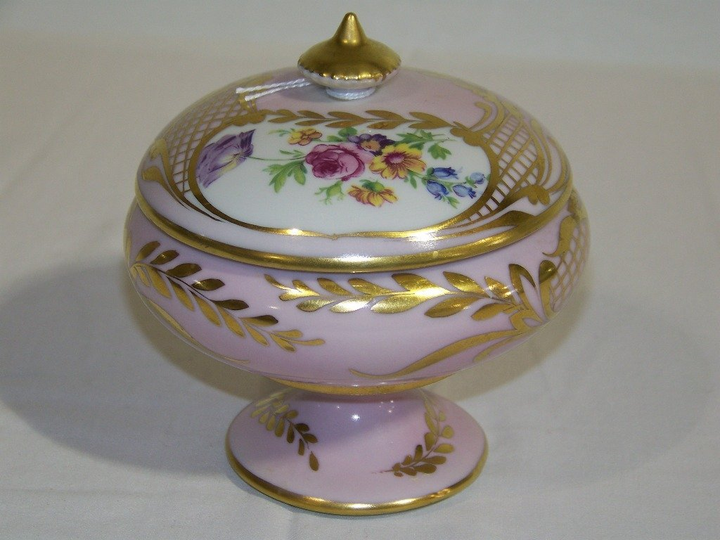 Vintage Hand Painted French Limoges Covered Compote