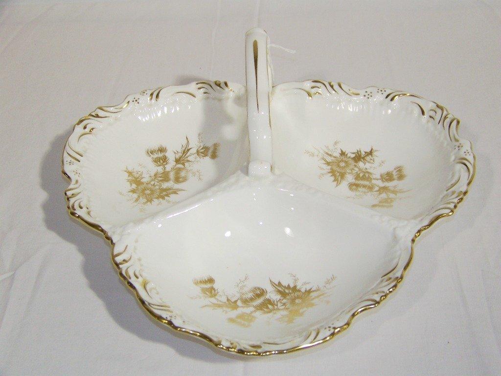 Vintage Hammersley Handled 3 Part Porcelain Serving Tra